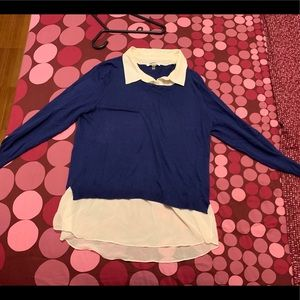 DKNYC Tops - DKNY collard blue shirt